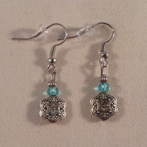 Silver Artisan Flower Bead Earrings Hypoallergenic
